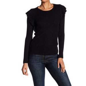 Lucky Brand Ribbed Knit Ruffle Top